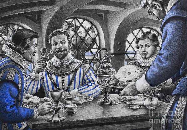Elizabethan Wall Art - Painting - Sir Francis Drake At The Table by Pat Nicolle