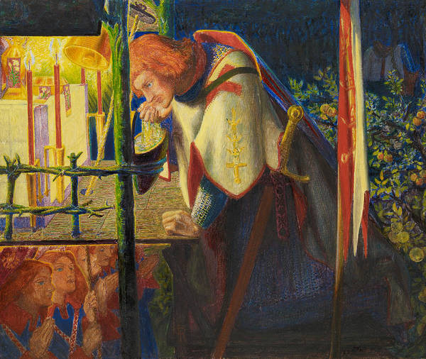 Pre-raphaelite Brotherhood Painting - Sir Galahad At The Ruined Chapel by Dante Gabriel Rossetti