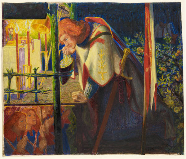 Painting - Sir Galahad At The Ruined Chapel by Dante Gabriel Rossetti