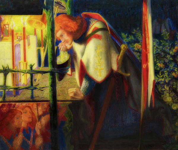 Flaming Sword Painting - Sir Galahad At The Ruined Temple by Dante Rossetti