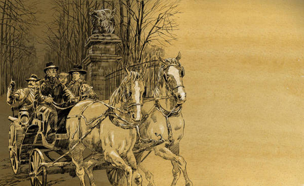 Drawing - Sir Henry And Doctor Watson. The Hound Of The Baskerville by Igor Sakurov