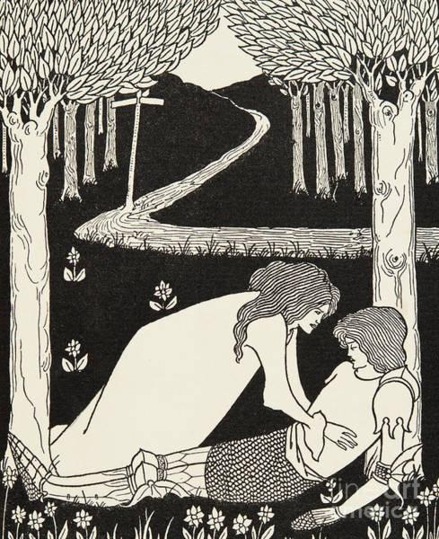 Beardsley Drawing - Sir Lancelot And Dame Elaine by Aubrey Beardsley