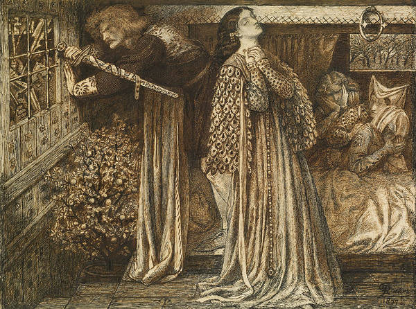 Drawing - Sir Launcelot In The Queen's Chamber by Dante Gabriel Rossetti