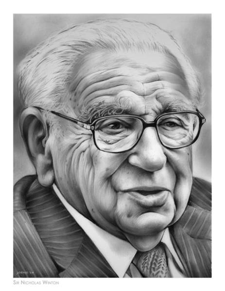 Wall Art - Drawing - Sir Nicholas Winton by Greg Joens