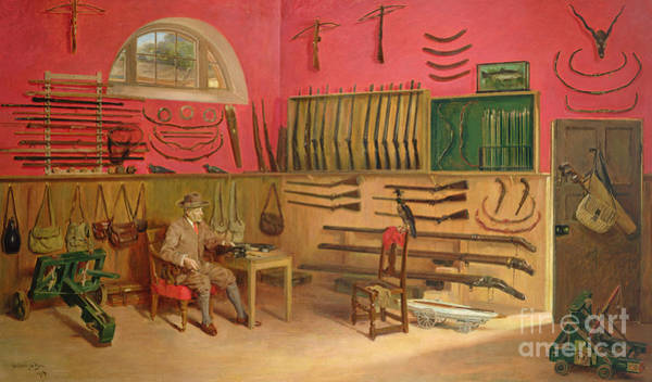 Wall Art - Painting - Sir Ralph Payne Gallwey In His Gunroom At Thirkleby Hall, Yorkshire, 1914 by Anthony de Bru