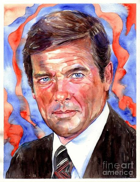 Bond Wall Art - Painting - Sir Roger Moore by Suzann's Art