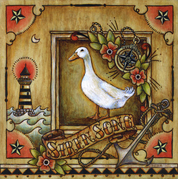 Painting - Siren Song Aka Ducking In For A Tattoo by Retta Stephenson