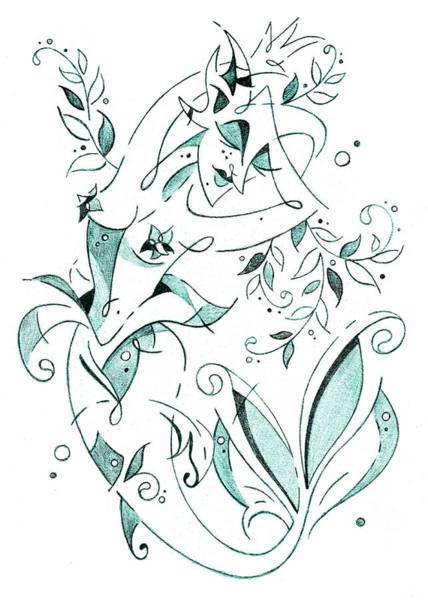 Wall Art - Drawing - Sirena - Mermaid Fantasy Book Illustration by Arte Venezia