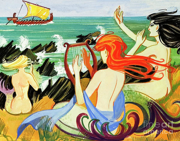 Wall Art - Painting - Sirens Tempt Odysseus Onto The Rocks by English School