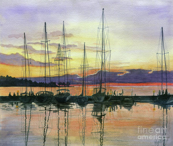 Painting - Sister Bay Harbor Sunset by Marilyn Smith