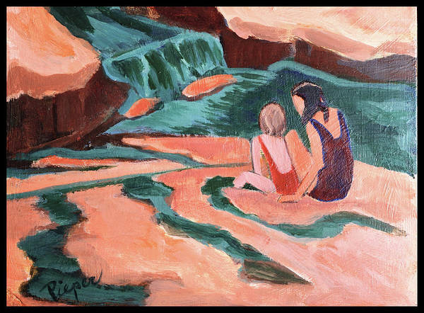 Oak Creek Canyon Painting - Sisters At Slide Rock by Betty Pieper