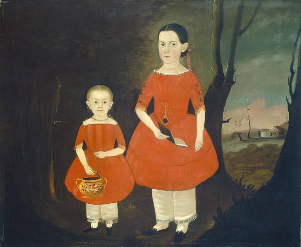 Wall Art - Painting - Sisters In Red by Sturtevant J Hamblin