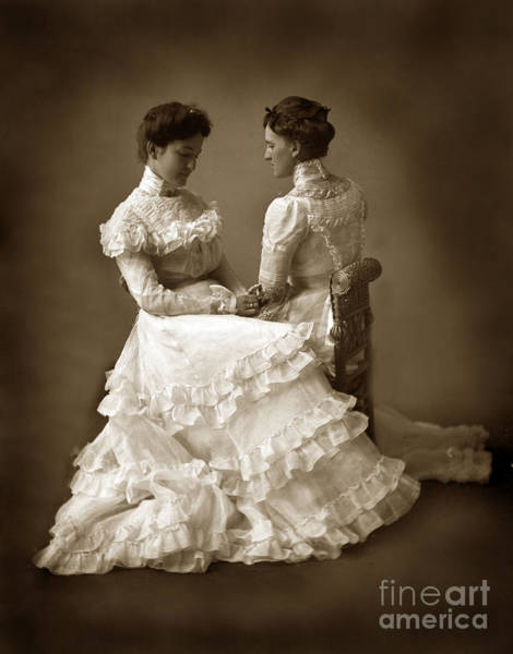 Photograph - Sisters In White  Victorian Dress Mirror-image Twins 1890 by California Views Archives Mr Pat Hathaway Archives