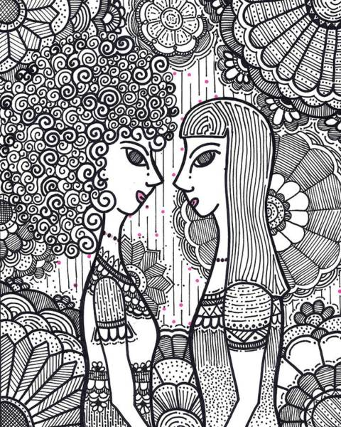 Drawing - Sisters - Ink by Caroline Sainis