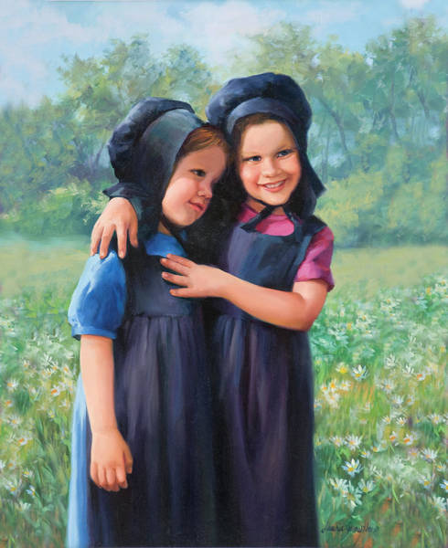 Wall Art - Painting - Sisters by Laurie Snow Hein