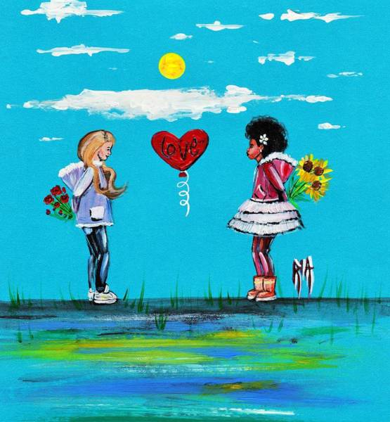 Flower Painting - Sisters by Artist RiA