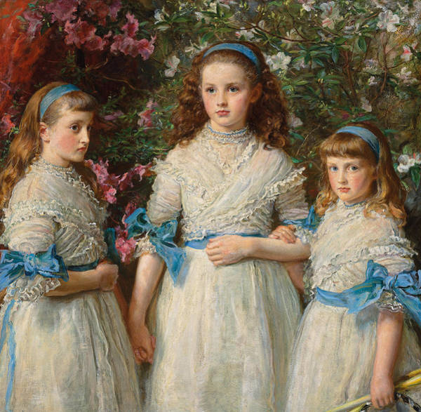 Blue Dress Painting - Sisters by Sir John Everett Millais