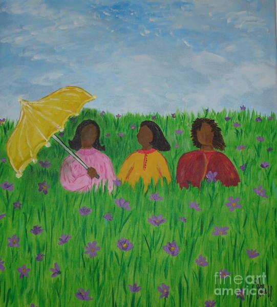Wall Art - Painting - Sisters Talk by Sheila J Hall