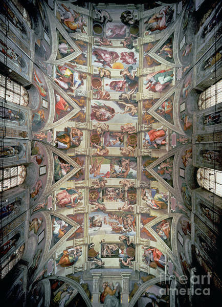 The Creation Of Adam Wall Art - Painting - Sistine Chapel Ceiling by Michelangelo