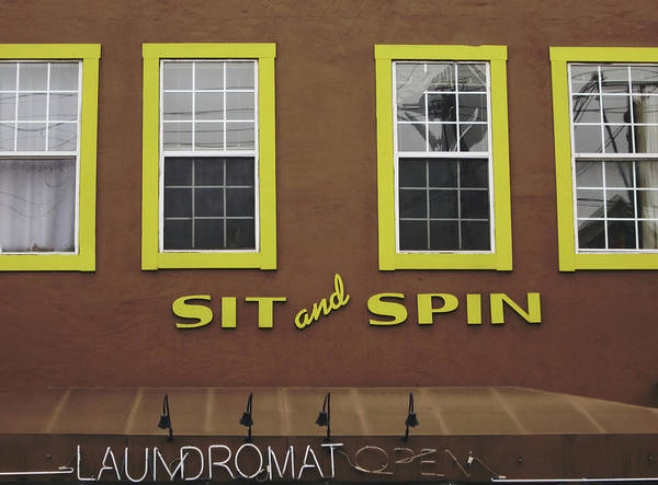 Wall Art - Mixed Media - Sit And Spin Laundromat Color- By Linda Woods by Linda Woods