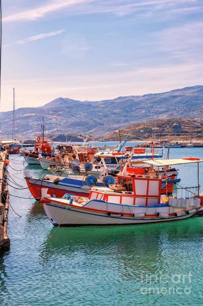 Taverna Photograph - Sitia Seafront Berthed Boats by Antony McAulay