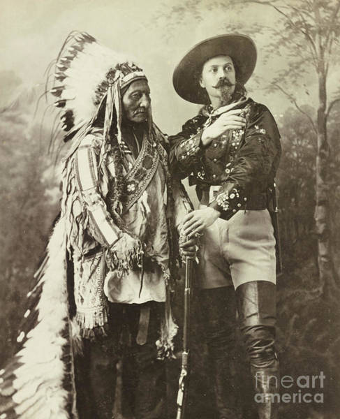 Wall Art - Drawing - Sitting Bull And Buffalo Bill Cody by American School