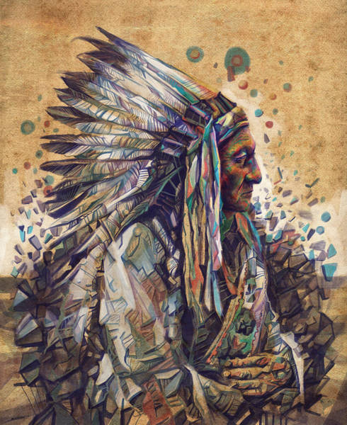 Sioux Wall Art - Painting - Sitting Bull Decorative Portrait 2 by Bekim M