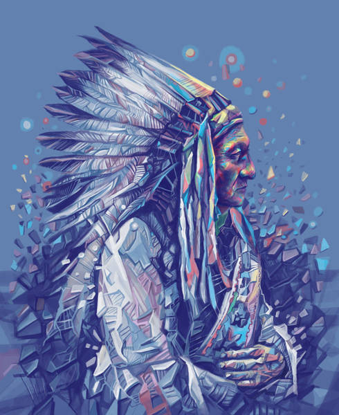 Native Headdress Painting - Sitting Bull Decorative Portrait by Bekim M