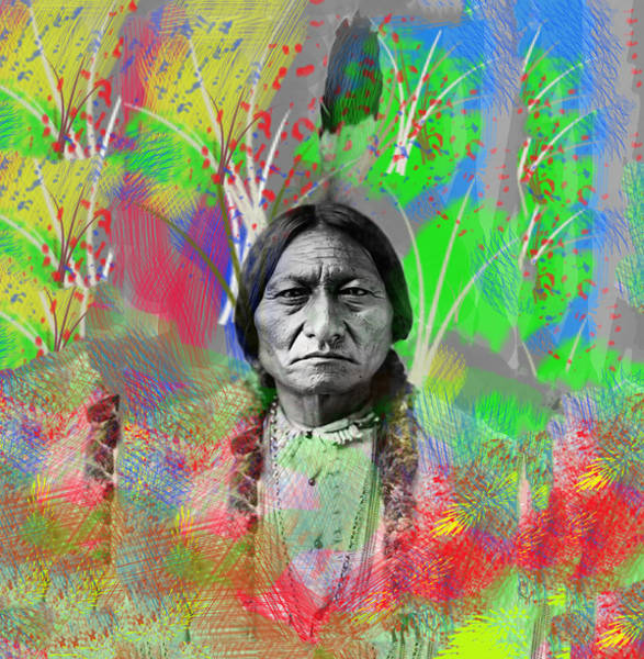 Sitting Bull Photograph - Sitting Bull In Abstract by Bill Cannon
