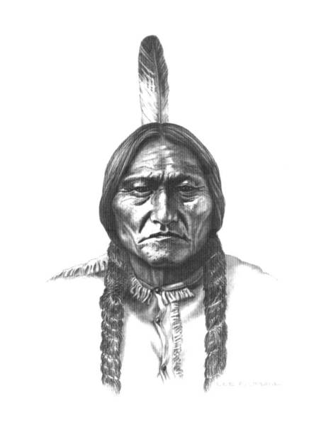 Grass Drawing - Sitting Bull by Lee Updike