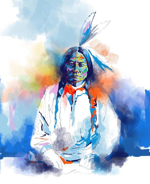 Native Headdress Painting - Sitting Bull Watercolor by Bekim M
