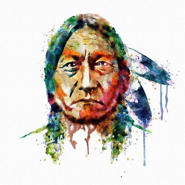 Wall Art - Painting - Sitting Bull Watercolor Painting by Marian Voicu