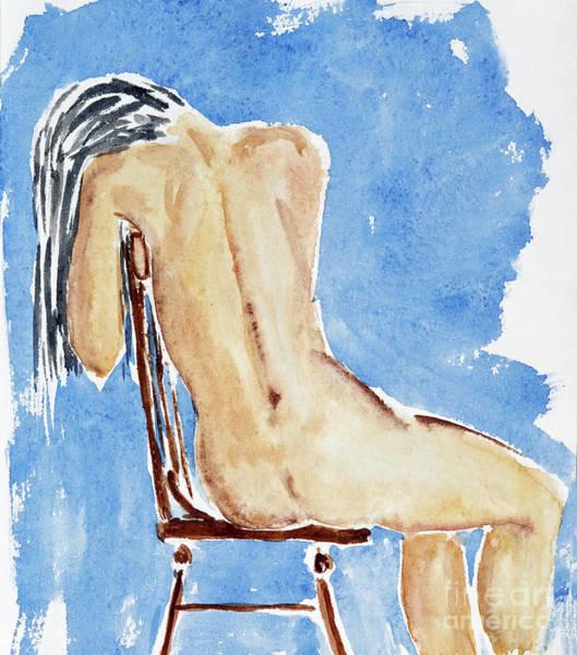 Wall Art - Painting - Sitting Girl by Michal Boubin