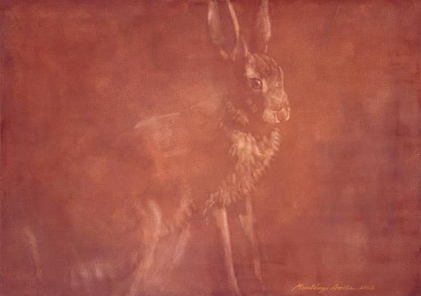 Painting - Sitting Hare by Attila Meszlenyi