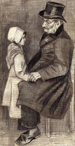 Tender Moment Wall Art - Drawing - Sitting Man With Little Girl by Vincent Van Gogh