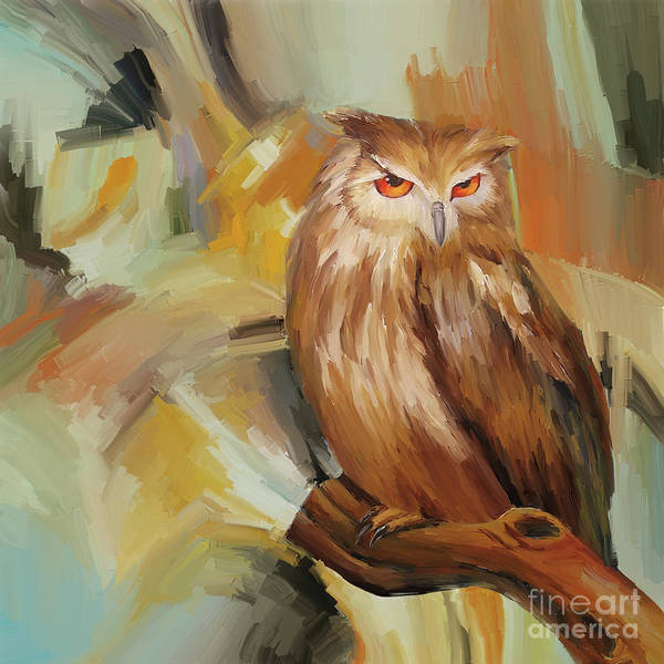 Wall Art - Painting - Sitting Owl by Gull G