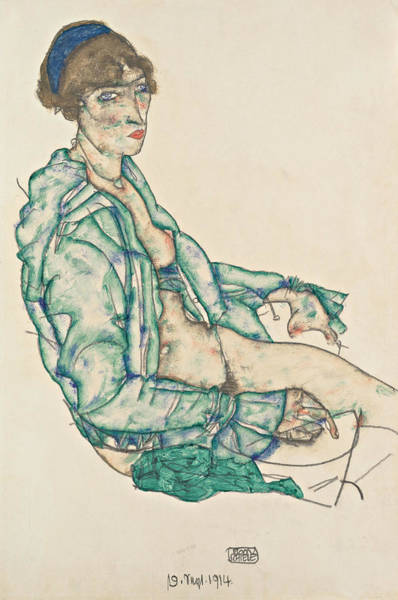Drawing - Sitting Semi-nude With Blue Hairband by Egon Schiele