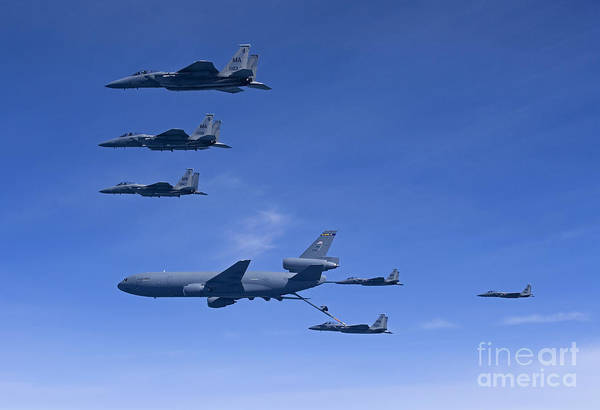 Aerial Combat Photograph - Six F-15 Eagles Refuel From A Kc-10 by HIGH-G Productions