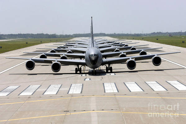 Taxiway Wall Art - Photograph - Six Kc-135 Stratotankers Demonstrate by Stocktrek Images