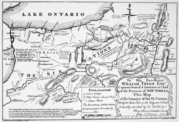 Boundaries Wall Art - Drawing - Six Nations Map 1771 by Granger