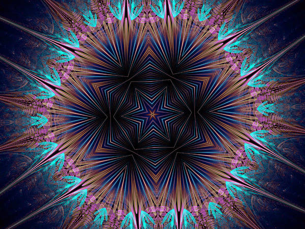 Digital Art - Six Petal Star Kaleidoscope by Ernst Dittmar