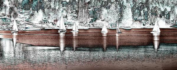 Photograph - Six Sailboats by David Patterson
