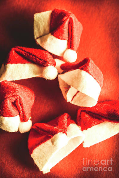 Cap Photograph - Six Santa Hats In Vintage Tone by Jorgo Photography - Wall Art Gallery