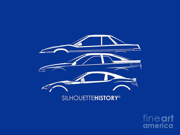 Japanese Art Digital Art - Six Stars Sports Coupe Silhouettehistory by Gabor Vida