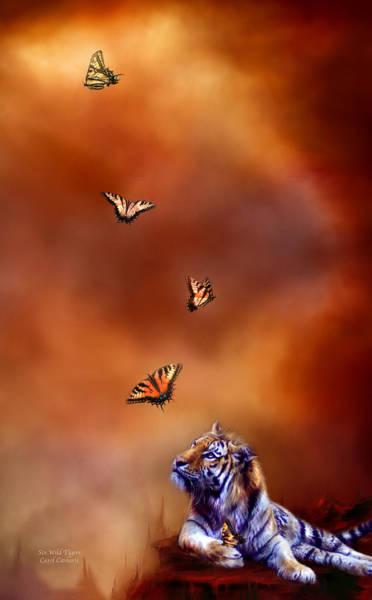 Mixed Media - Six Wild Tigers by Carol Cavalaris