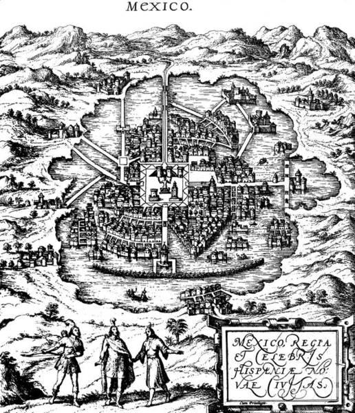 Drawing - Sixteenth Century Map Of Mexico by Joris Hoefnagel