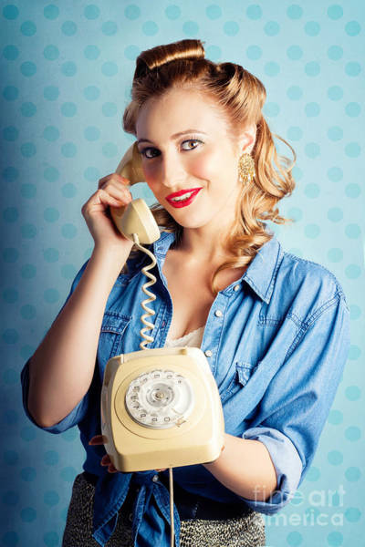 Photograph - Sixties Woman Holding Vintage Telephone Handset by Jorgo Photography - Wall Art Gallery