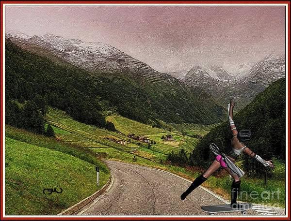 Spring Mountains Mixed Media - Skateboard Dancing  Girl 1 by Pemaro
