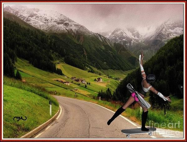 Spring Mountains Mixed Media - Skateboard Dancing  Girl by Pemaro