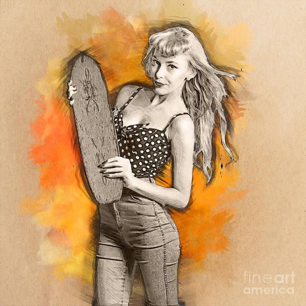 Digital Art - Skateboard Pin-up Illustration by Jorgo Photography - Wall Art Gallery
